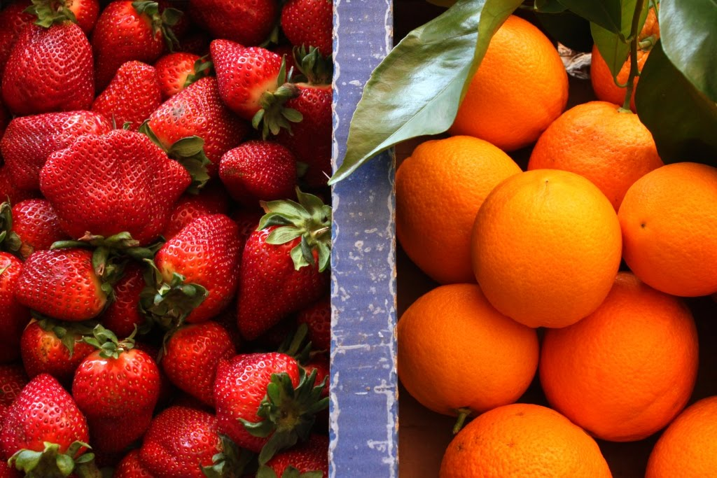 Oranges, Strawberries,